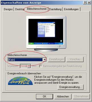 Bildschirmschoner ausschalten