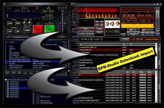 BPM-Studio Datenbank Import. Ein Mausklick und weiter geht's in DigiJay!